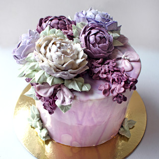 Mirror glaze cake with buttercream peony