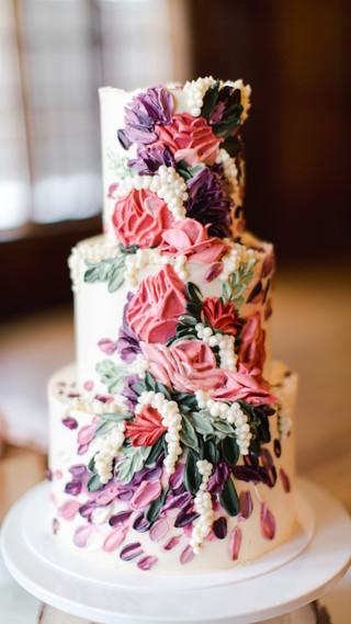 Palette Knife Flower Wedding Cake