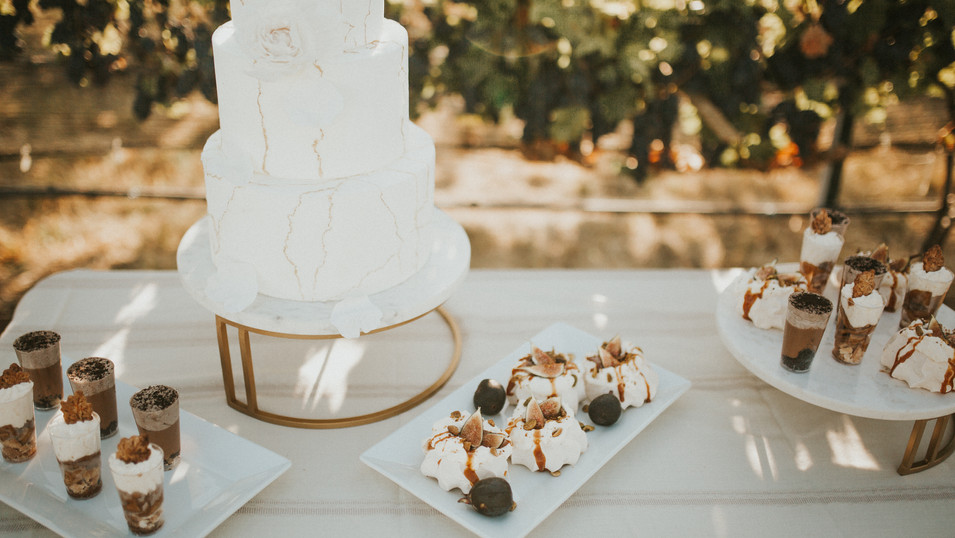 Fall vineyard wedding cake and dessert bar
