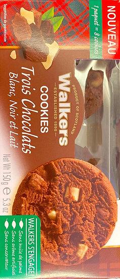 Walkers Cookies Trois Chocolats Blanc, Noir Et Lait