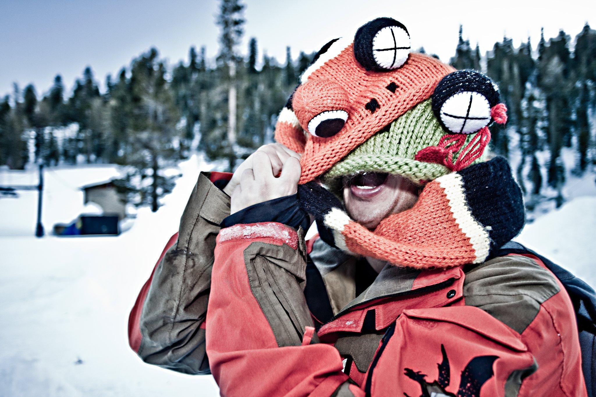 Patrick eating Froggu Helmet Cover