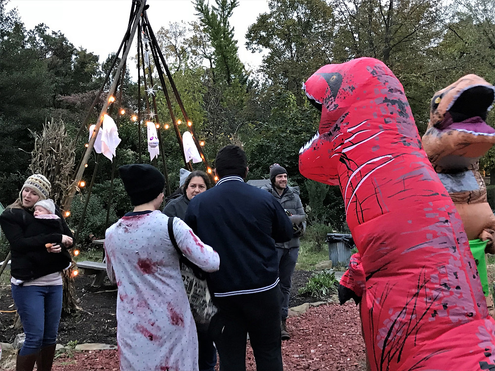 Trick or Treating at neighborhood green space in Cleveland Heights