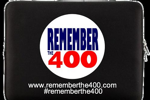 Soft Zipper Laptop Bag Black with rememberthe400 logo