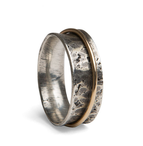 Concrete Gold Spinner Ring Common Ground Adornments Handmade