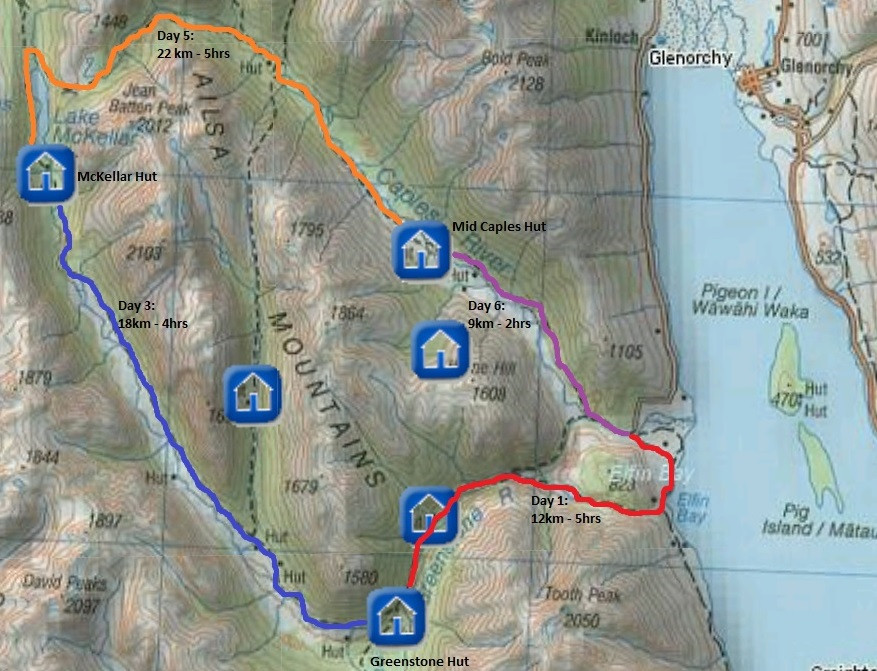 map of the greenstone caples track new zealand queenstown