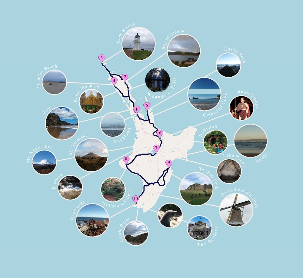 New Zealand North Island driving travel itinerary