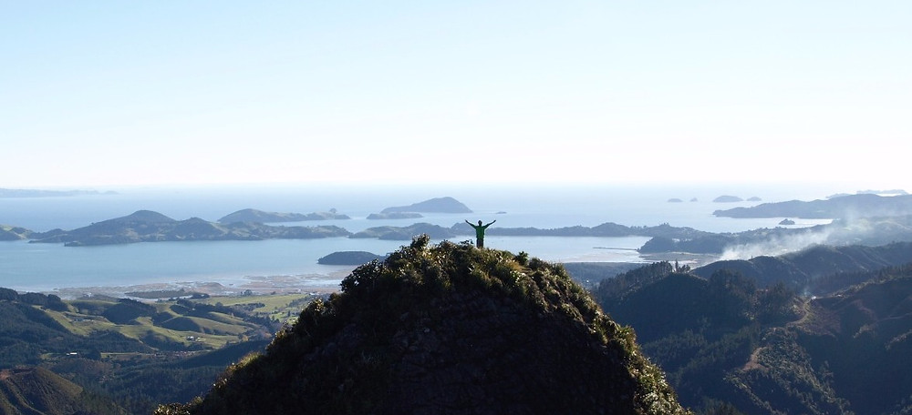 man on top of a mountain in new zealand