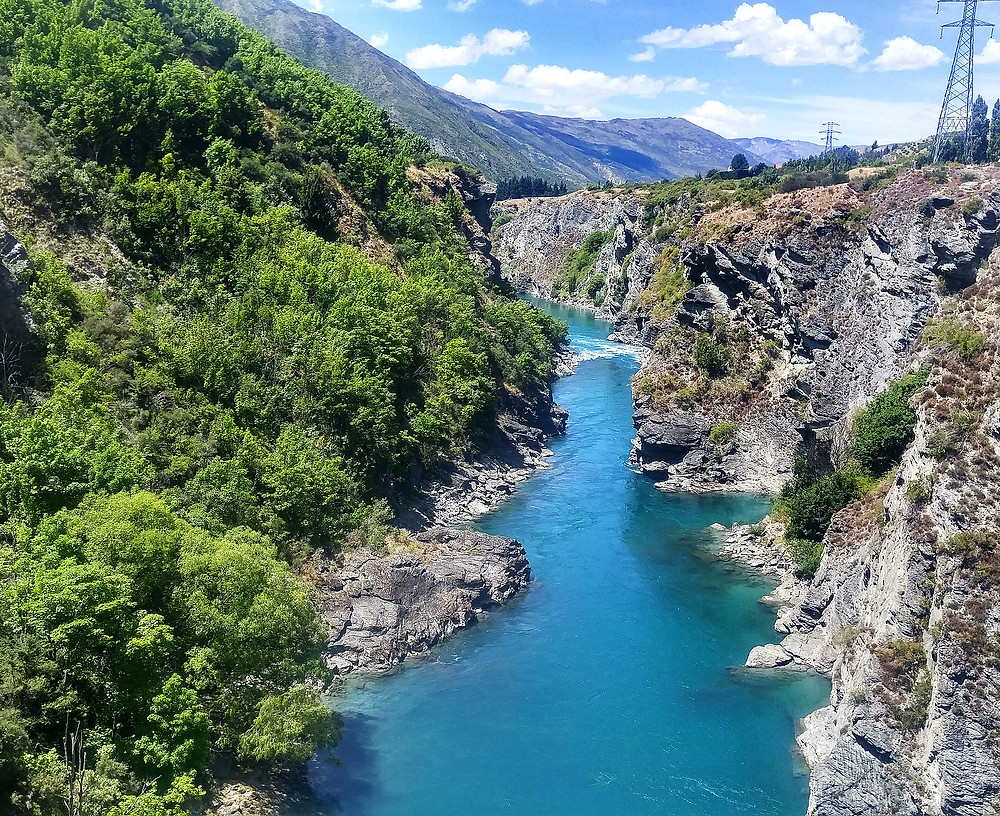 Blue water at kawaru gorge queenstown new zealand