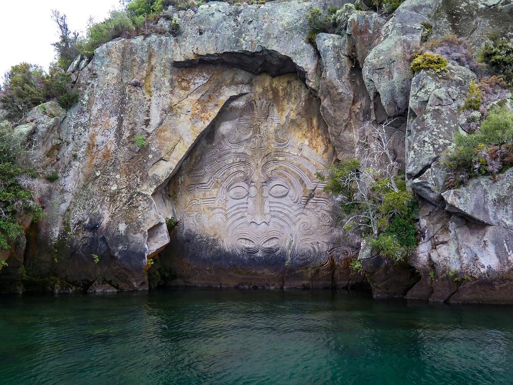 Mine Bay Maori Carvings Taupo New Zealand