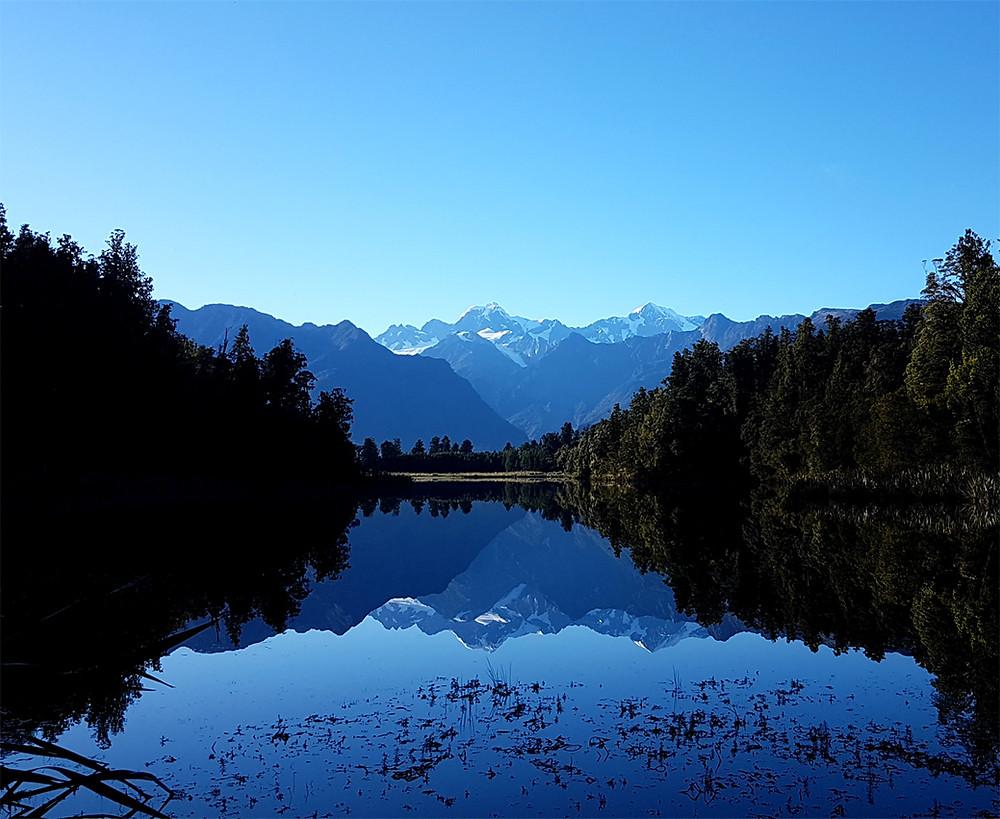 Reflections on Lake Matheson New Zealand