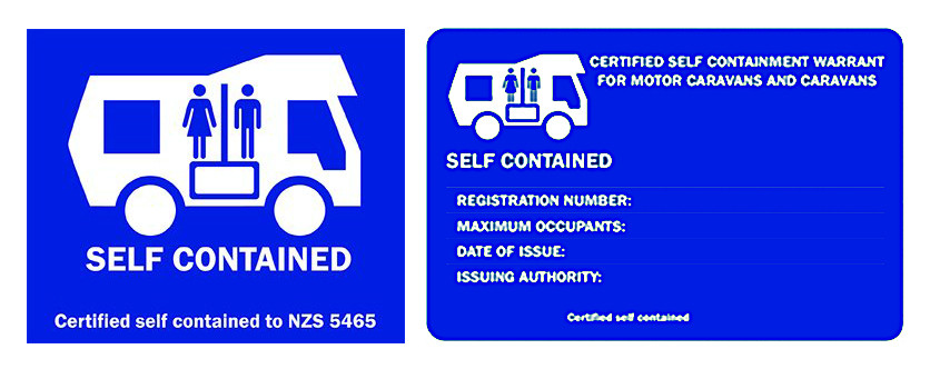 new zealand self contained sticker and warrant card NZS 5465