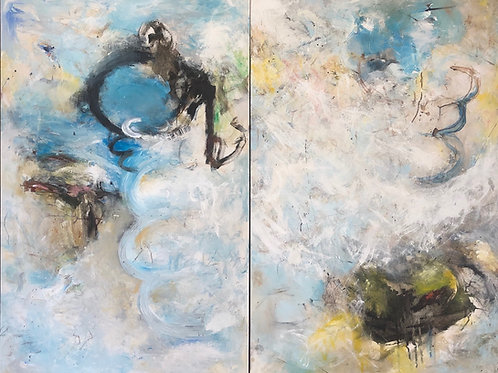 $40/mo Acknowledging the Uncertainty by Kerry Itami 48x60 (diptych)
