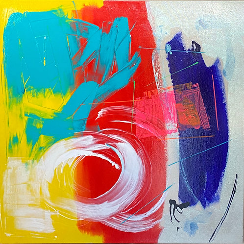 "$30/mo ""White Circle/Blue Sweep"" by BethAdams 30x30"