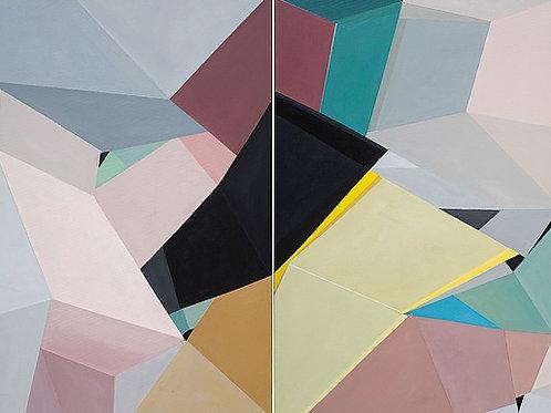 $40/mo Organic/Geometric 26 by Elissa Voland 36x48 (diptych)