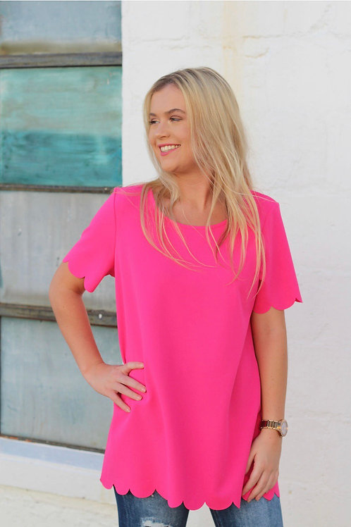 Hot pink scalloped shirt