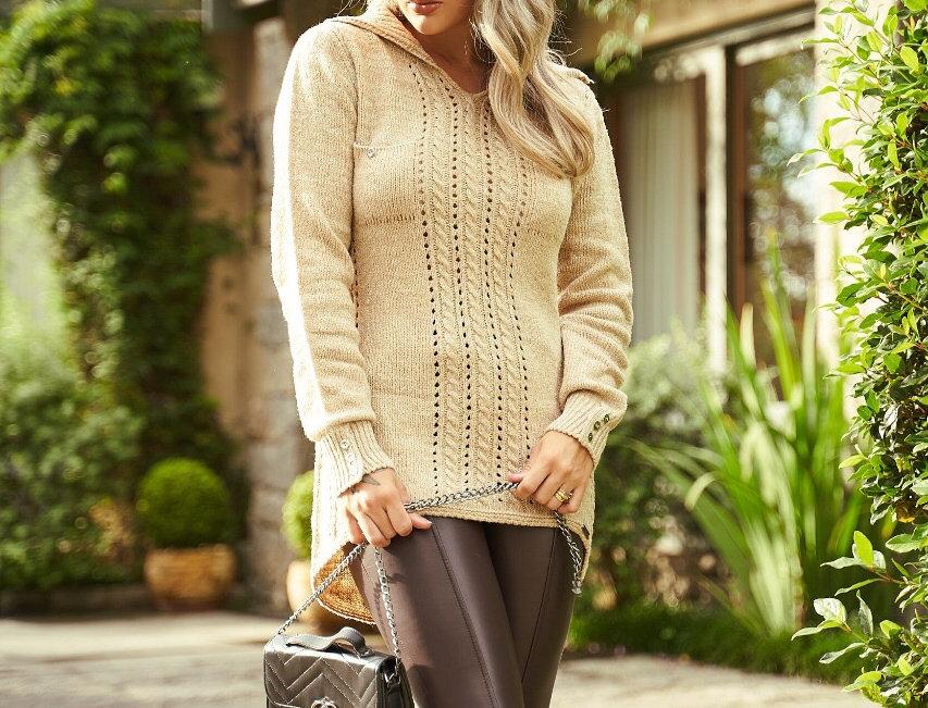 Blusa comprida de tricot