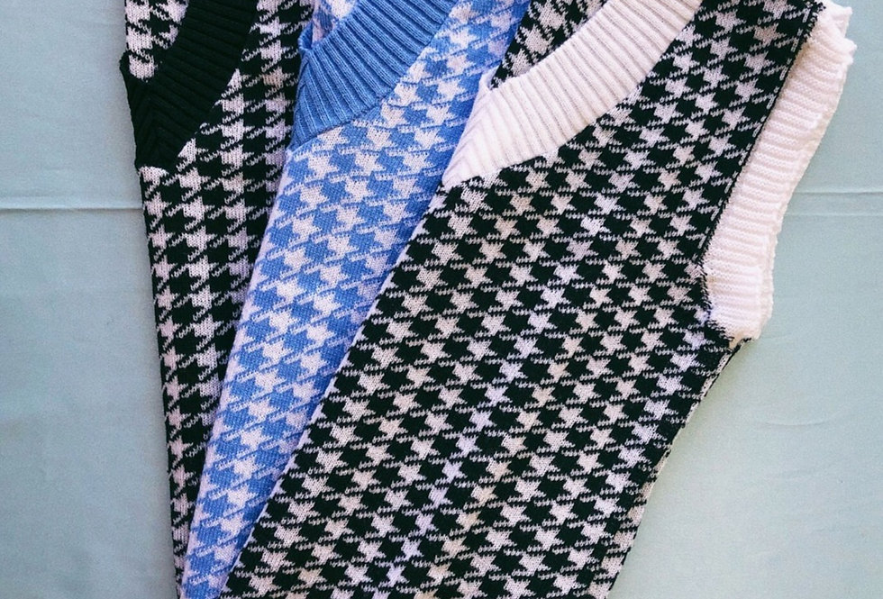 Colete Pied de Poule de tricot