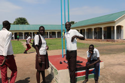 Taking a break at the school flag
