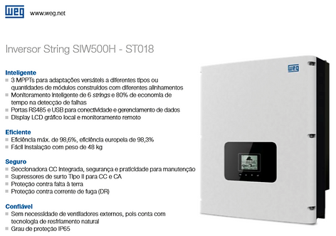 KIT SOLAR WEG (22,5KWp) INSTALADO! (Energia suficiente para contas até R$2.700,)