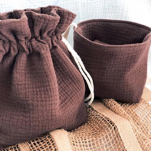 Pochon + 7 lingettes lavables chocolat