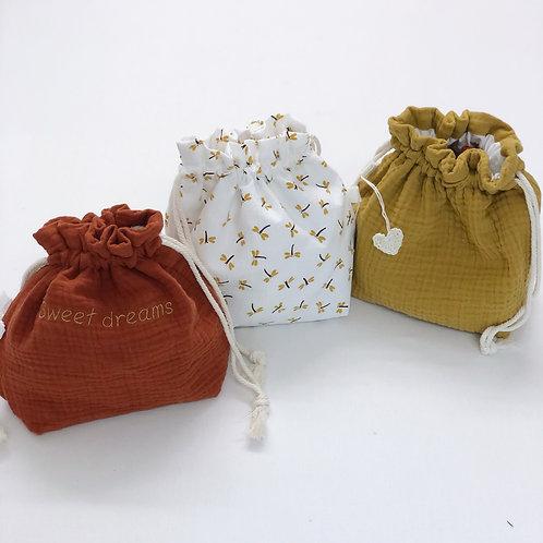 Petit sac bébé en gaze de coton personnalisable