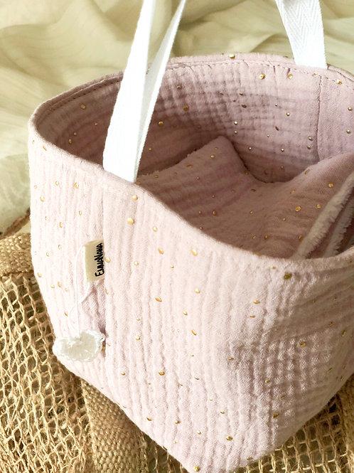 Pochon + 7 lingettes lavables parme points dorés