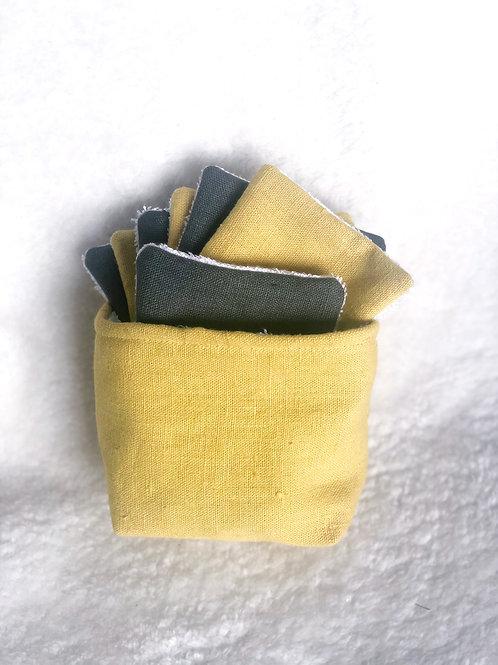 Lingette démaquillante en lin kaki et jaune
