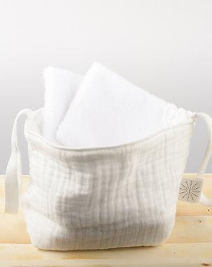 Pochon et 7 lingettes lavables unies à personnaliser