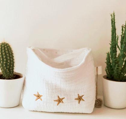 Pochon et 7 lingettes lavables étoiles dorés