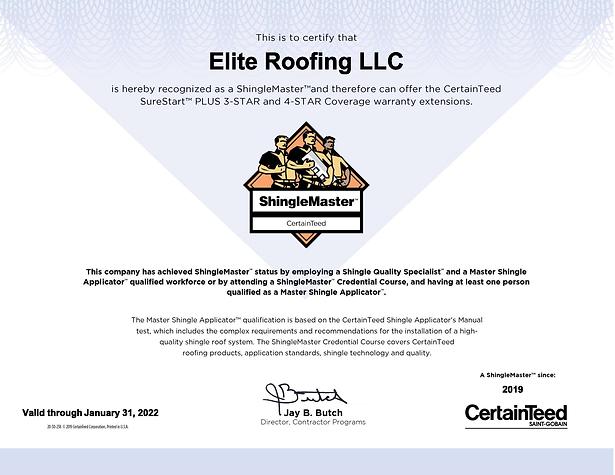 Certainteed Shingle Master Certification