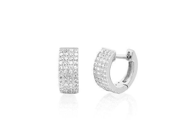 EF Collection 14ct white gold and diamond geometric mini huggies