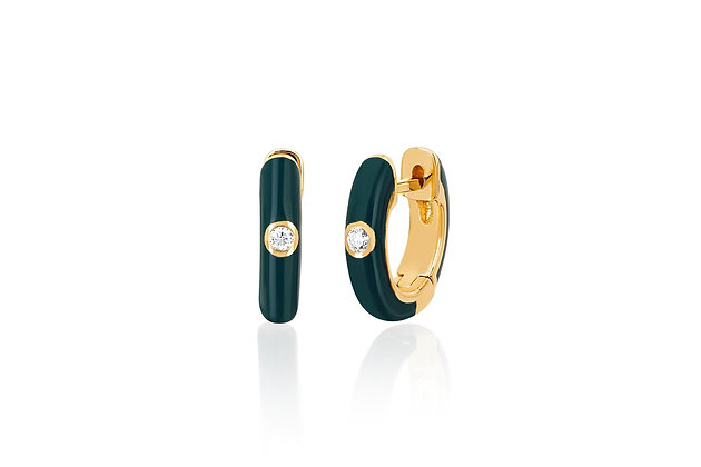 EF Collection 14ct gold and diamond green enamel huggie earrings
