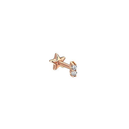 Kismet by Milka 14ct rose gold and two diamond solitaire piercing (single)