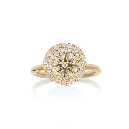 Noush 14ct gold and full pave diamond north star ring