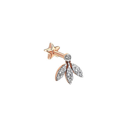 Kismet by Milka 14ct rose gold and diamond three marquise drop piercing (single)