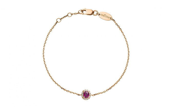 Redline 18ct rose gold, diamond and ruby chain bracelet