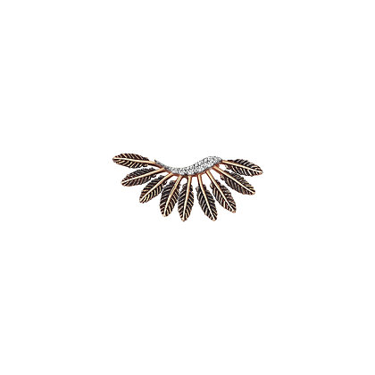 Kismet by Milka 14ct rose gold and diamond feather arc earring (single)