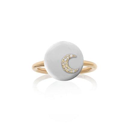 Noush 14ct gold and diamond moon ring