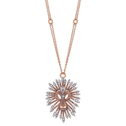 Kismet by Milka 14ct rose gold and diamond large lion necklace