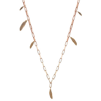 Kismet by Milka 14ct rose gold six feathers links chain necklace