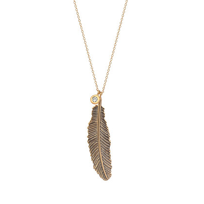 Kismet by Milka 14ct rose gold and diamond raven feather necklace
