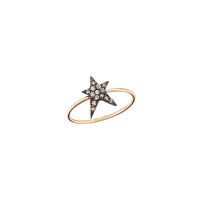 Kismet by Milka 14ct rose gold and champagne diamond struck star ring