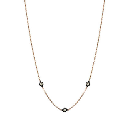 Kismet by Milka 14ct rose gold and three solitaire diamond choker