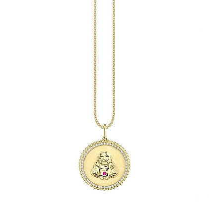 Sydney Evan 14ct gold, ruby and white diamond sitting Buddha coin necklace