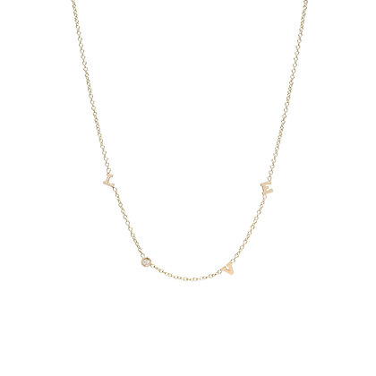 Zoe Chicco 14ct gold and diamond 'love' necklace