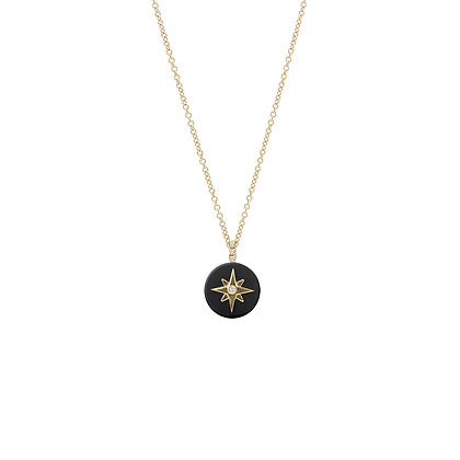 Noush 14ct gold, onyx and diamond north star necklace