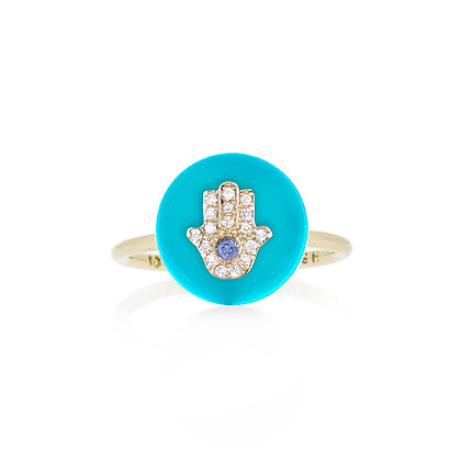 Noush 14ct gold, turquoise and diamond Hamsa ring
