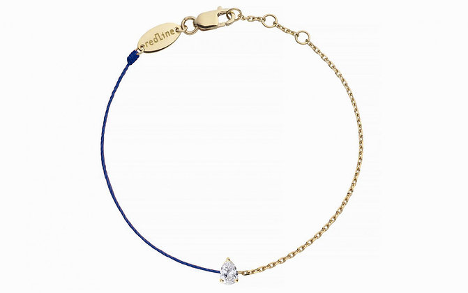 Redline 18ct gold and navy 'Altesse' chain and thread bracelet
