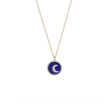 Noush 14ct gold, lapis and diamond moon necklace