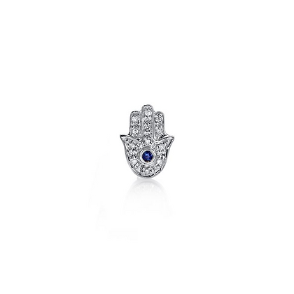 Sydney Evan 14ct white gold, diamond and blue sapphire Hamsa stud (single)